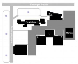 Der Lageplan des Schulzentrums am Mäusheckerweg.