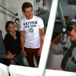 "Alexander Reuter, Lea Finkler und Marc Kößling ""on Air"" mit Moderator Nils Thamm."