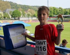 Till Gilles belegte in seinem Lauf den 1. Platz.