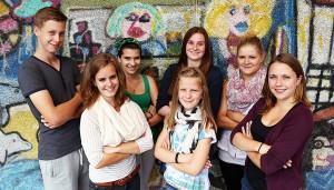 Das SV-Team 2014/15: Christoph (hintere Reihe von links), Angela Zobelt, xx und Schülersprecherin Lea Finaler (vorne von links).