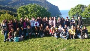 Deutsche und italienische Austausch-Schüler gemeinsam.